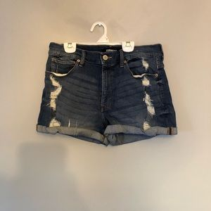 Express high waisted distressed jean shorts sz 10